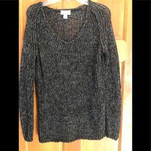 LOFT Black sweater with shiny grey
